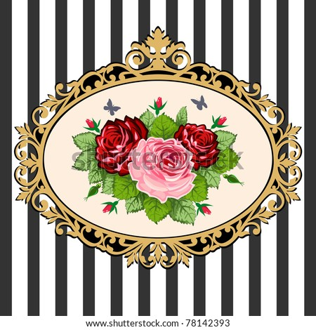 Classical black & gold victorian frame with rose bouquet, space for your text. Vintage rose bouquet illustration on black white background. - stock vector