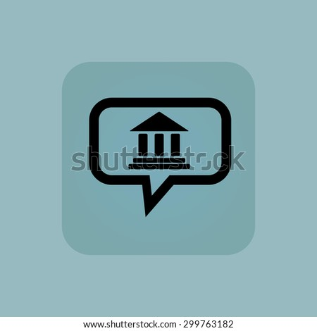 Classical building with pillars in chat bubble, in square, on pale blue background - stock vector