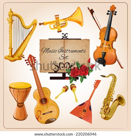 Classical chamber orchestra ensemble instruments harp violin horn icons composition advertisement poster color sketch isolated vector illustration - stock vector