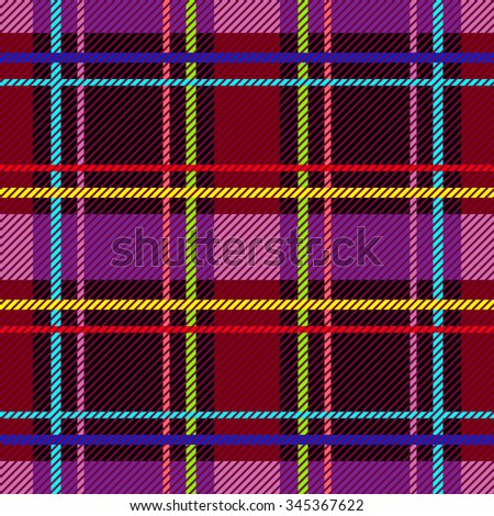 Classical checkered plaid. Seamless vector pattern with diagonal hatching. Retro textile collection. Dark red, purple and brown with colorful stripes. Backgrounds & textures shop. - stock vector