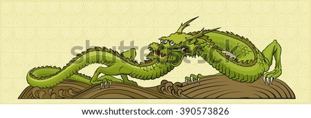 Classical Chinese dragon of green color