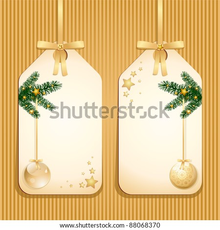 Classical Christmas labels, vector - stock vector