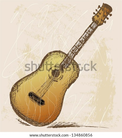 Classical guitar. Grunge style - stock vector