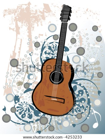 Classical guitar vector illustration with grunge design elements.