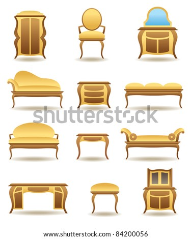 Classical home furniture icons set - vector illustration - stock vector