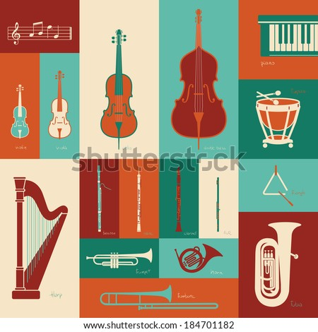 Classical music instruments - stock vector