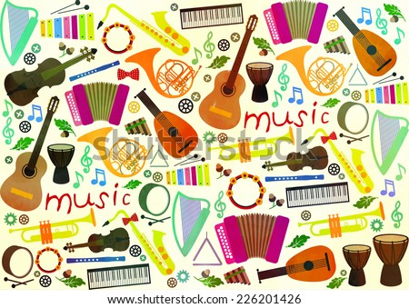Classical musical instruments pattern - stock vector