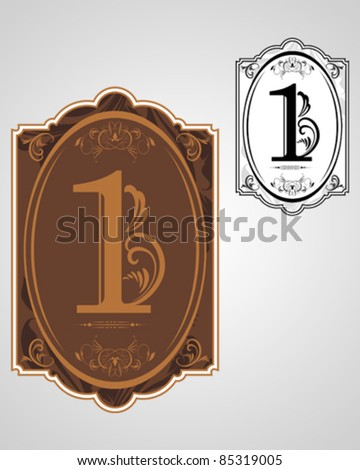 Classical numbering design element - stock vector