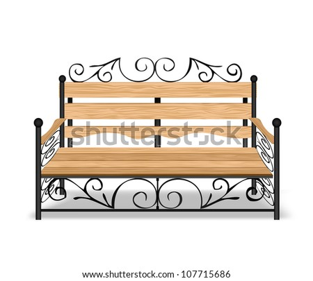 Classical park bench. Vector illustration - stock vector