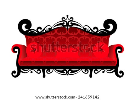 Classical red sofa isolated on white background. Vector illustration