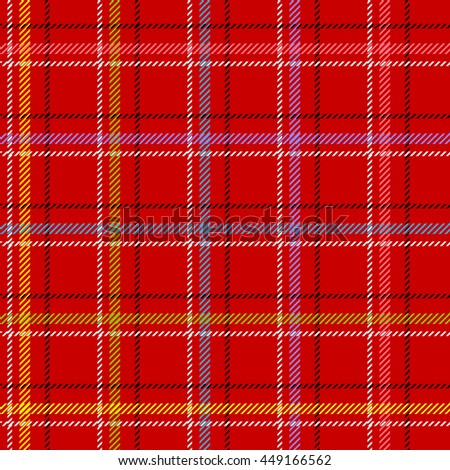 Classical shirt cotton fabric. Checkered seamless vector pattern. Retro textile collection. Red. - stock vector