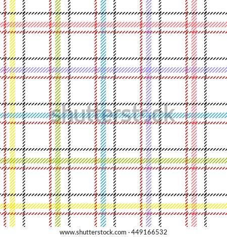 Classical shirt cotton fabric. Checkered seamless vector pattern. Retro textile collection. White. - stock vector