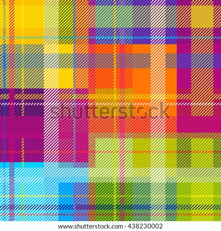 Classical Shirt Seamless Pattern. Checkered Plaid Vector Background. Retro Textile Design motifs. Chequered multicolored cotton fabric. Checkers, strips. Cotton-looking cloth texture. Rainbow colors. - stock vector