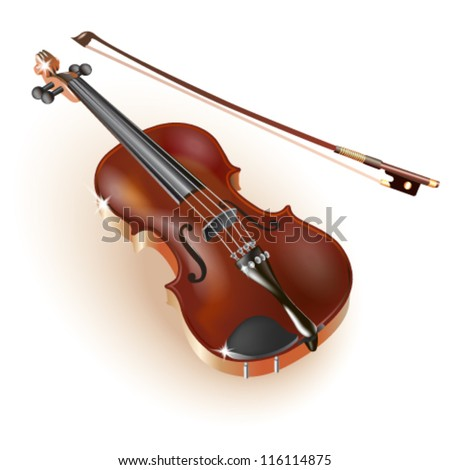 Classical violin, isolated on white background. Fully editable vector