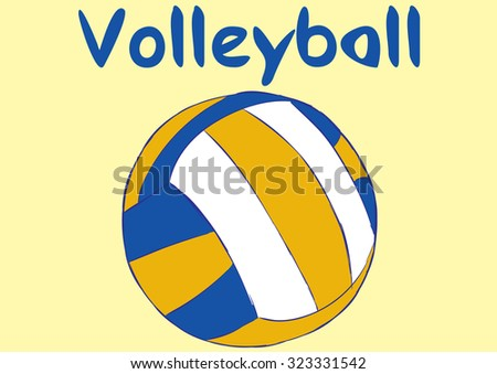 Classical volleyball ball and blue inscription volleyball