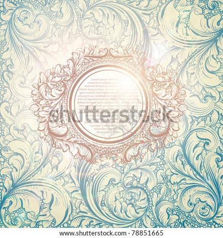 Classical wallpaper with a flower pattern and flower frame - stock vector