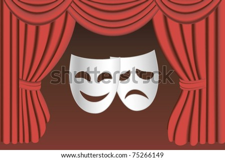 classical white theater masks and classical red theater curtains - stock vector