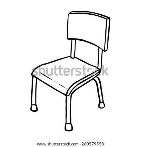 Classroom Chair Cartoon Vector Illustration Black Stock