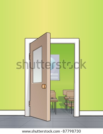 Classroom entrance - stock vector