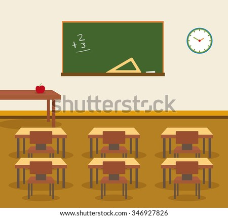 Classroom interior, place for study - stock vector