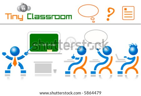 classroom students and teacher icons - stock vector