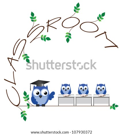 Classroom twig text isolated on white background - stock vector