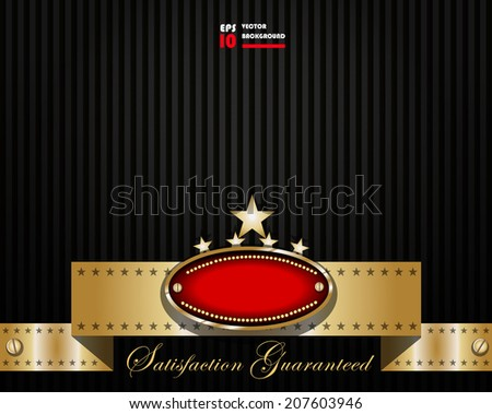 Classy background design with badge and ribbon - stock vector