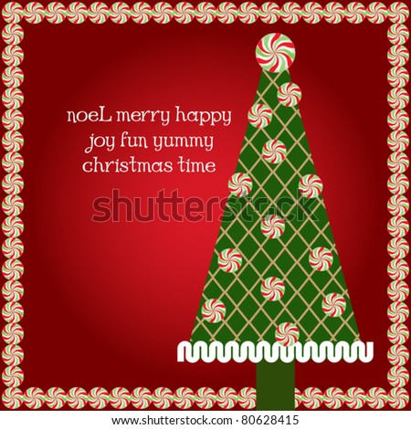 Classy candy christmas tree and frame - stock vector