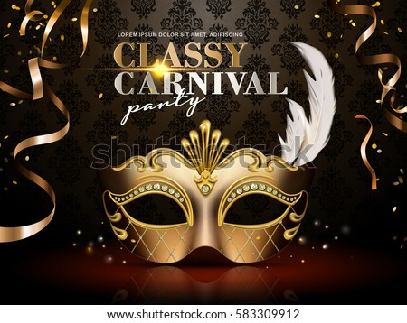 Classy carnival party poster, elegant golden mask with diamond and feather decorations isolated on dark background in 3d illustration