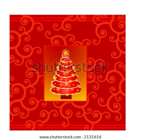 Classy christmas card tree over scroll - stock vector