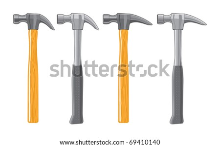 Claw Hammers. The wooden hammers are three colors and the metal hammers are one color. The art can be easily edited or separated for print or screen print.