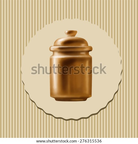 Clay pot under the lid for food, cereals and sugar, kitchen, logo, vector drawing with space for text - stock vector