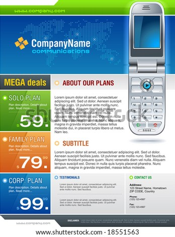 Clean and colorful corporate brochure for telecom industry.