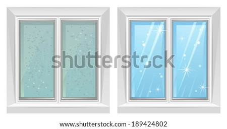 Clean and dirty window - stock vector