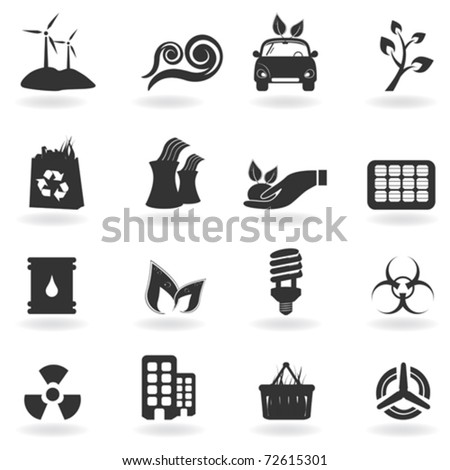 Clean and green environment related symbols - stock vector