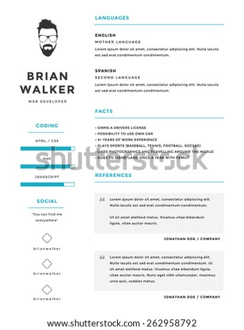 clean and minimalistic personal vector resume cv template. Resume Example. Resume CV Cover Letter