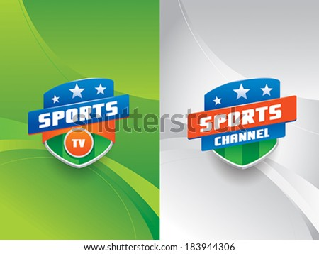 Clean and modern sports vector emblems with stripes and stars,  against a dynamic background with curves. - stock vector
