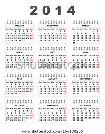 Clean and simple 2014 calendar, week starts at monday - stock vector