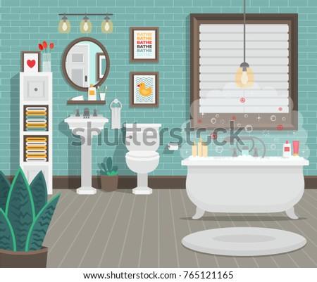 Clean Bathroom Toilet Sink Bath Accessories Stock Vector 765121165