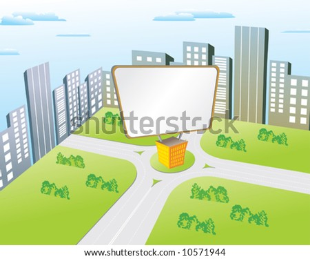Clean billboard for filling informations on the city - stock vector