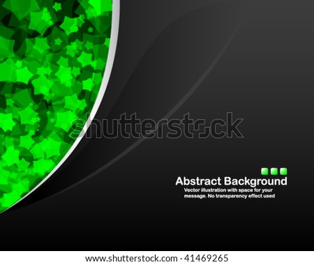 Clean black vector background with random transparent green stars. - stock vector