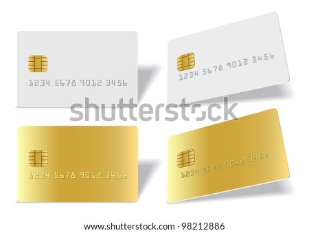 Clean blak bank-card sample on white background - stock vector