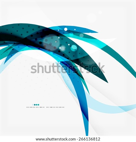 Clean blue wave lines on white, abstract background - stock vector