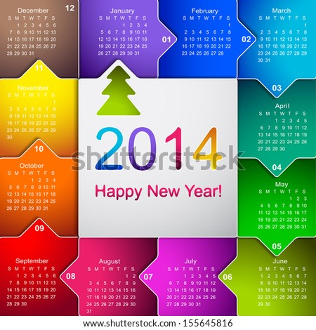 Clean 2014 business wall calendar - stock vector