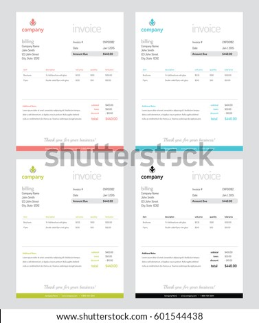 clean contemporary modern minimal invoice templates stock vector