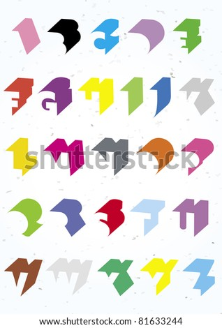 Clean 3D shadow alphabet brightly coloured - stock vector