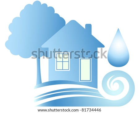 Clean ecology house, blue water and drop - stock vector
