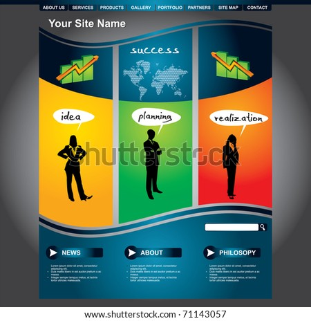 Clean editable business web page template - stock vector