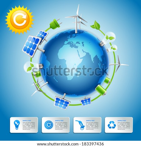 Clean energy and green life around the globe business concept with decorative power elements vector illustration - stock vector