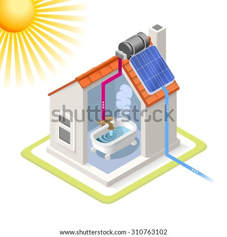 Clean Energy House Solar Panels Infographic Icon Concept Isometric 3d Soften Colors Elements Heating Providing Chart Scheme Illustration Vector JPEG JPG EPS 10 Image Drawing AI Object Picture Graphic  - stock vector